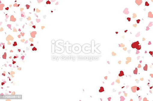 istock Heart confetti falling down isolated. 1298698192