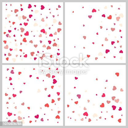 Heart confetti for Valentine's Day, wedding, background, gift, sign, application, and more. Vector set of four love  backgrounds