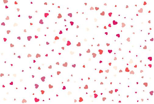 Heart confetti of Valentine's petals. Beautiful Confetti Hearts