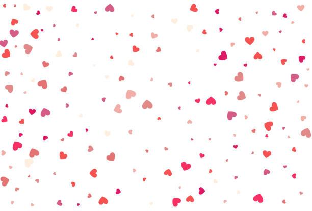 Heart confetti of Valentine's petals. Beautiful Confetti Hearts vector art illustration