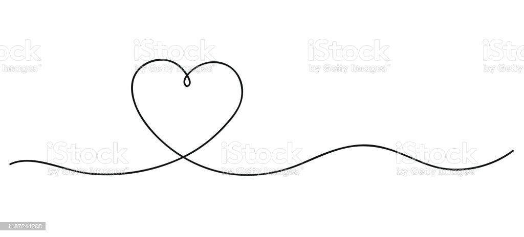 Herzen. Kontinuierliche Linie KunstZeichnung. Handgezeichnete Doodle-Vektor-Illustration in einer durchgehenden Linie. Linie Kunst dekoratives Design - Lizenzfrei Abstrakt Vektorgrafik