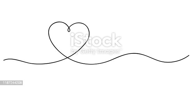 istock Heart. Continuous line art drawing. Hand drawn doodle vector illustration in a continuous line. Line art decorative design 1187244208