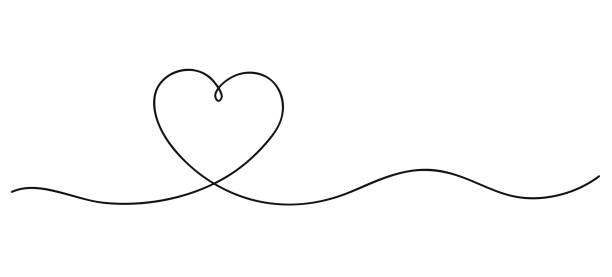 heart. continuous line art drawing. hand drawn doodle vector illustration in a continuous line. line art decorative design - szkic rysunek stock illustrations