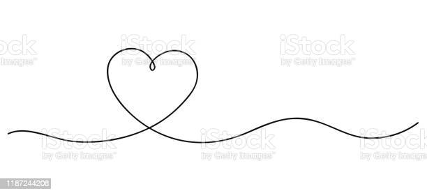 Herzen Kontinuierliche Linie Kunstzeichnung Handgezeichnete Doodlevektorillustration In Einer Durchgehenden Linie Linie Kunst Dekoratives Design Stock Vektor Art und mehr Bilder von Abstrakt