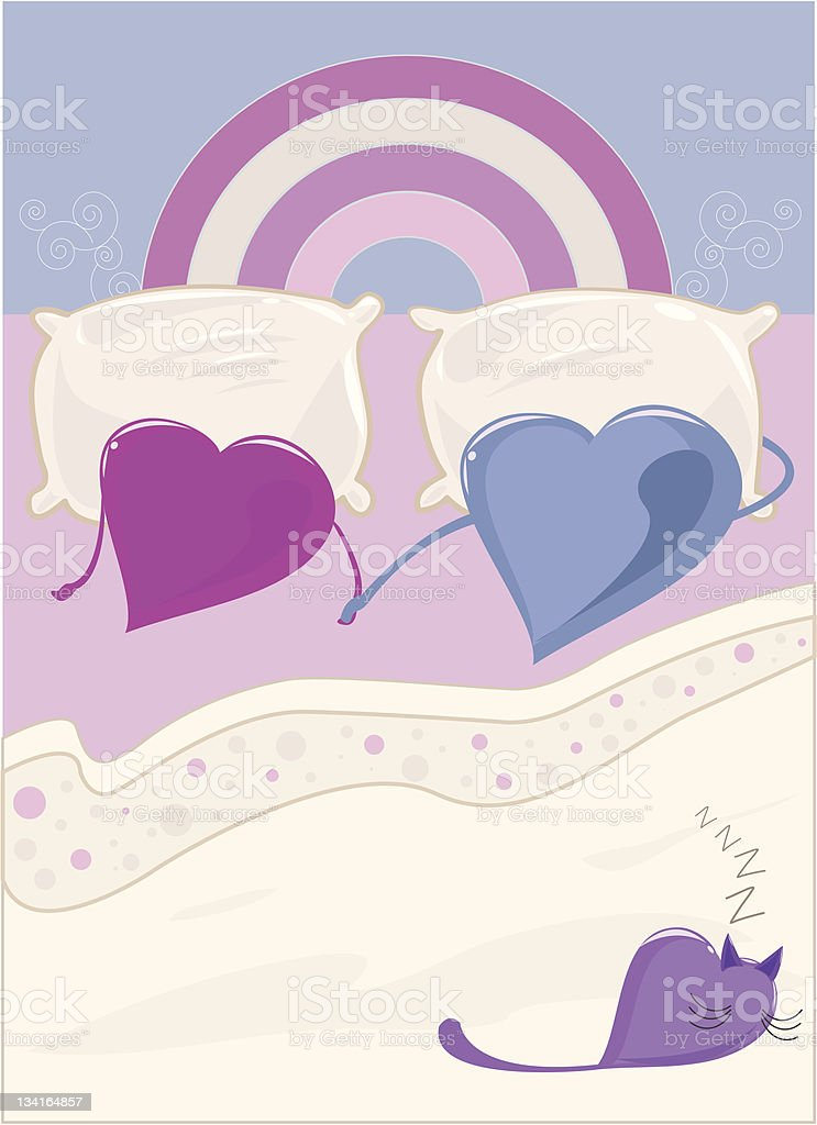Heart Couple In Bed royalty-free stock vector art