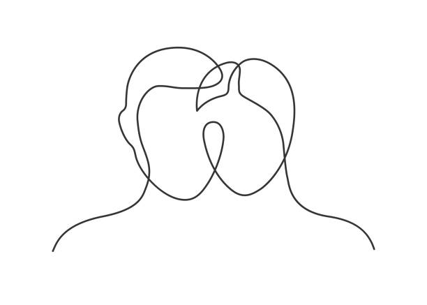 heart couple one line Continuous line drawing of man and woman heads on white background. Vector illustration girlfriend stock illustrations