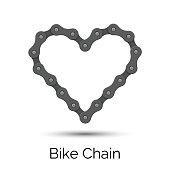 Heart created from a bicycle chain. Bike chain heart shape.