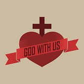 Heart cross and banner with text in vintage style