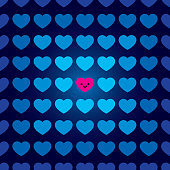 Vector illustration of a happy pink heart surrounded by blue hearts.