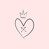 Heart, crown, crossed arrows drawn by hand. Cute romantic sketch, doodle. Vector illustration.