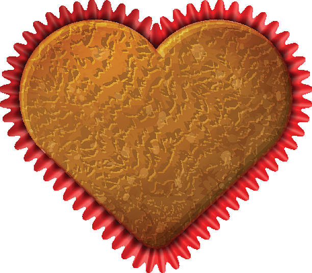 Heart cupcake in baking cup vector art illustration
