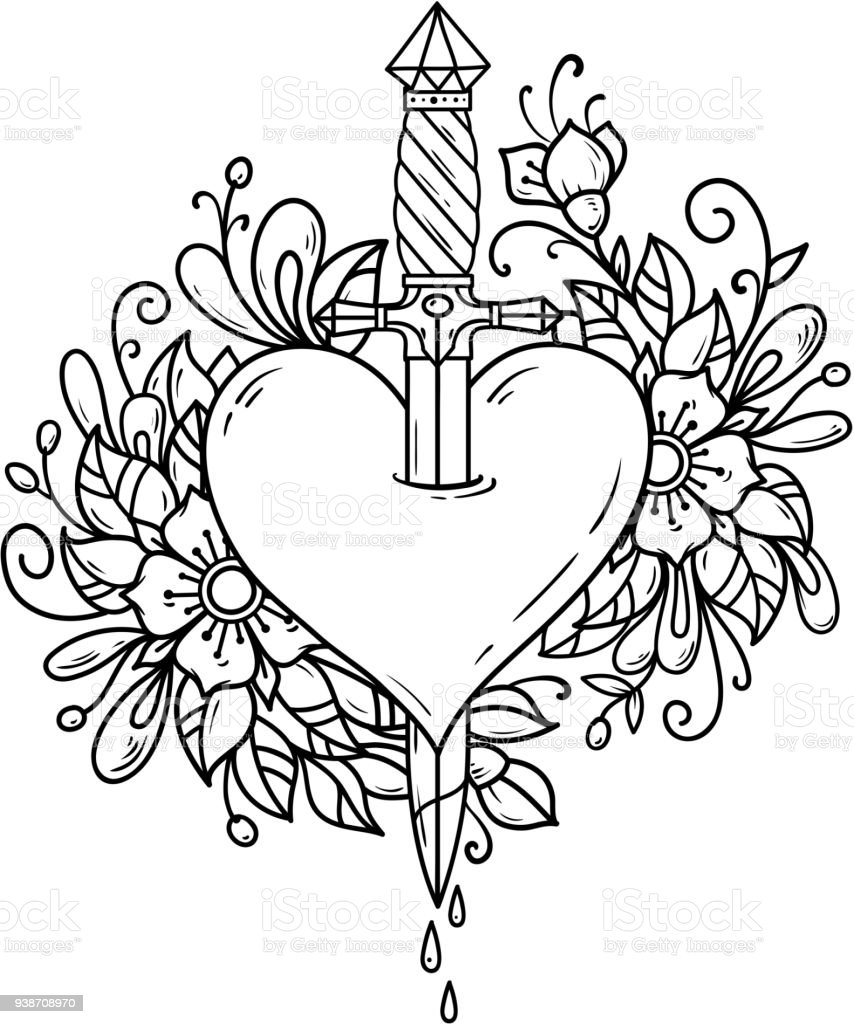 Heart decorated with flowers pierced with dagger vector art illustration