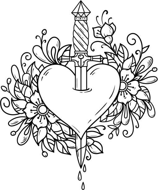 illustrations, cliparts, dessins animés et icônes de coeur fleuri percé avec poignard - tatouages poignards