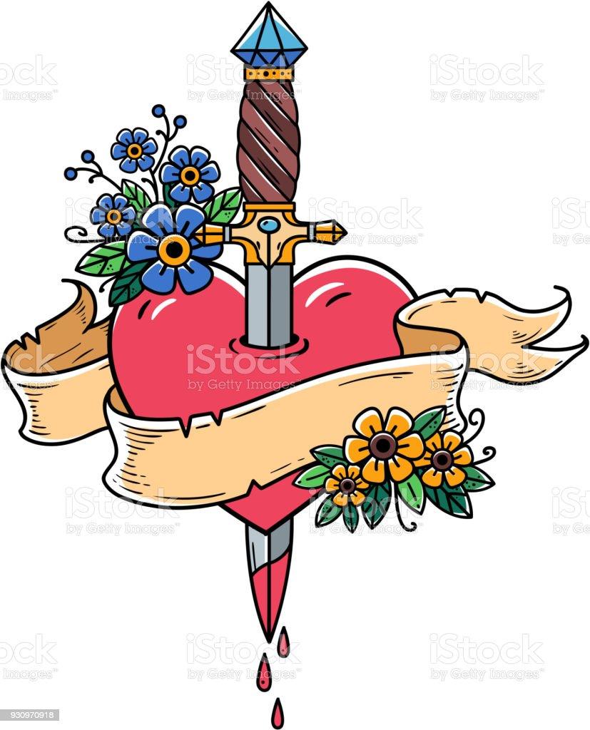 Coração decorada com flores perfurado com punhal. Tatuagem punhal antigo perfurando o coração com sangue a pingar. Love.Old escola - ilustração de arte em vetor