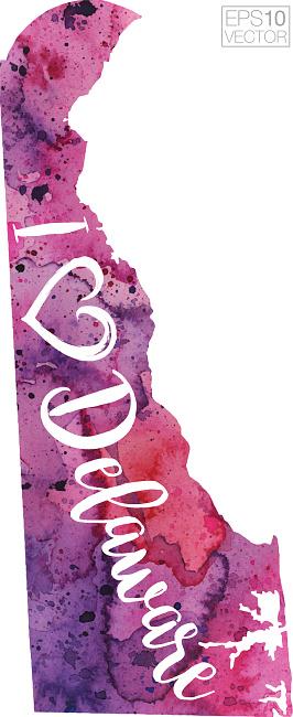 I Heart Delaware Vector Watercolor Map