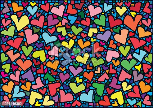 istock heart design colorful stained glass background illustration vector 1251446362