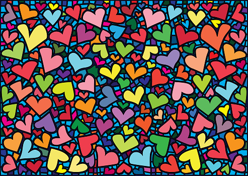 heart design colorful stained glass background illustration vector