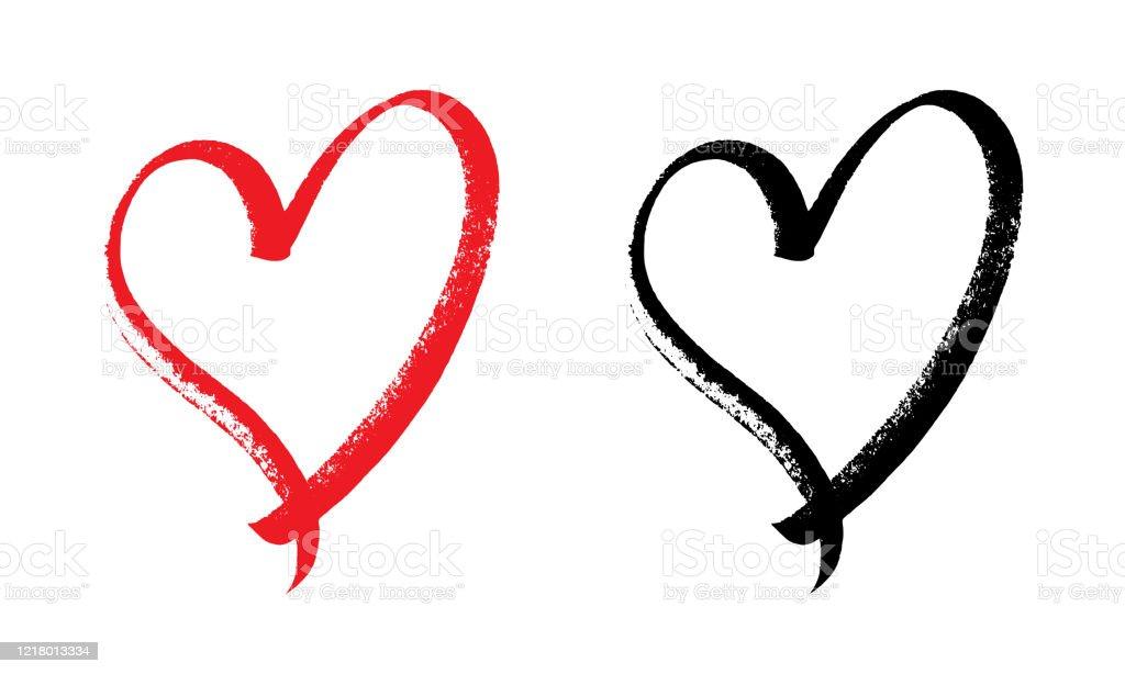 heart design expressive brush. - Royalty-free Abstrato arte vetorial