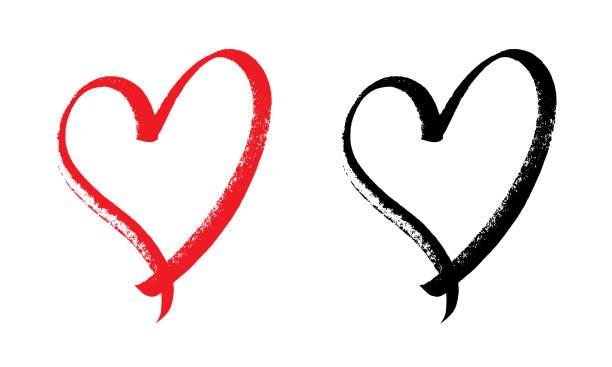 heart design expressive brush. Heart design with original and expressive brush. Eps 10 valentine card stock illustrations