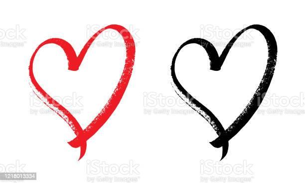 Heart Design Expressive Brush - Arte vetorial de stock e mais imagens de Abstrato