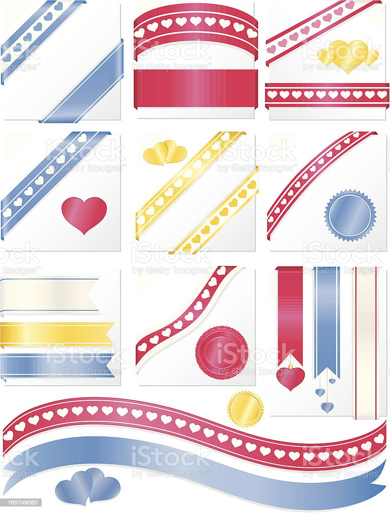 Heart Designs Corner Ribbons, Stickers Set: Pink, Blue, Yellow, White royalty-free stock vector art