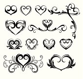 Various heart designs.