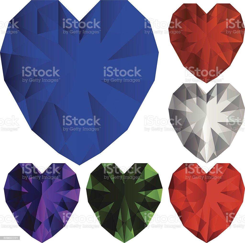 Heart diamonds vector art illustration