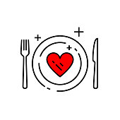Heart diet icon. Conceptual eat healthy food sign. Wellness meal plan symbol with plate, knife and fork. Line icon vector illustration.