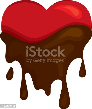 Concept vector illustration of a heart dipped into something as wonderful as chocolate!