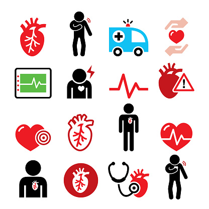 Heart disease, heart attack, Cardiovascular disease vector icons set, chest pain design, problem with breathing