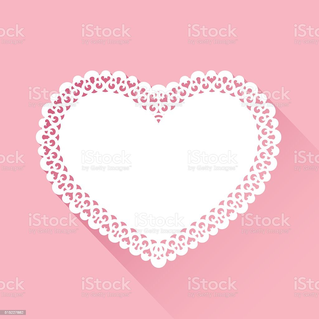 Heart Doily Background vector art illustration