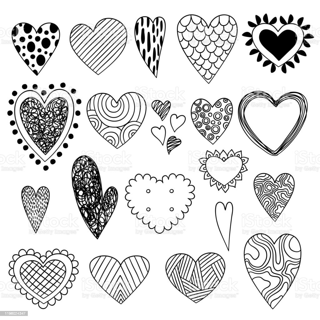 Heart Doodles Valentine Day Symbols Sketch Love Icons Collection Beauty Ornate Stylized Hearts Vector Stock Illustration Download Image Now Istock