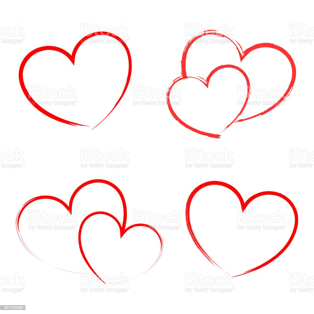 Heart Draw Handmade Icon Symbol Logo Creative Design Stock Vector