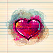 Drawing of  Heart in watercolour style on ruled paper. Elements are grouped.contains eps10 and high resolution jpeg.