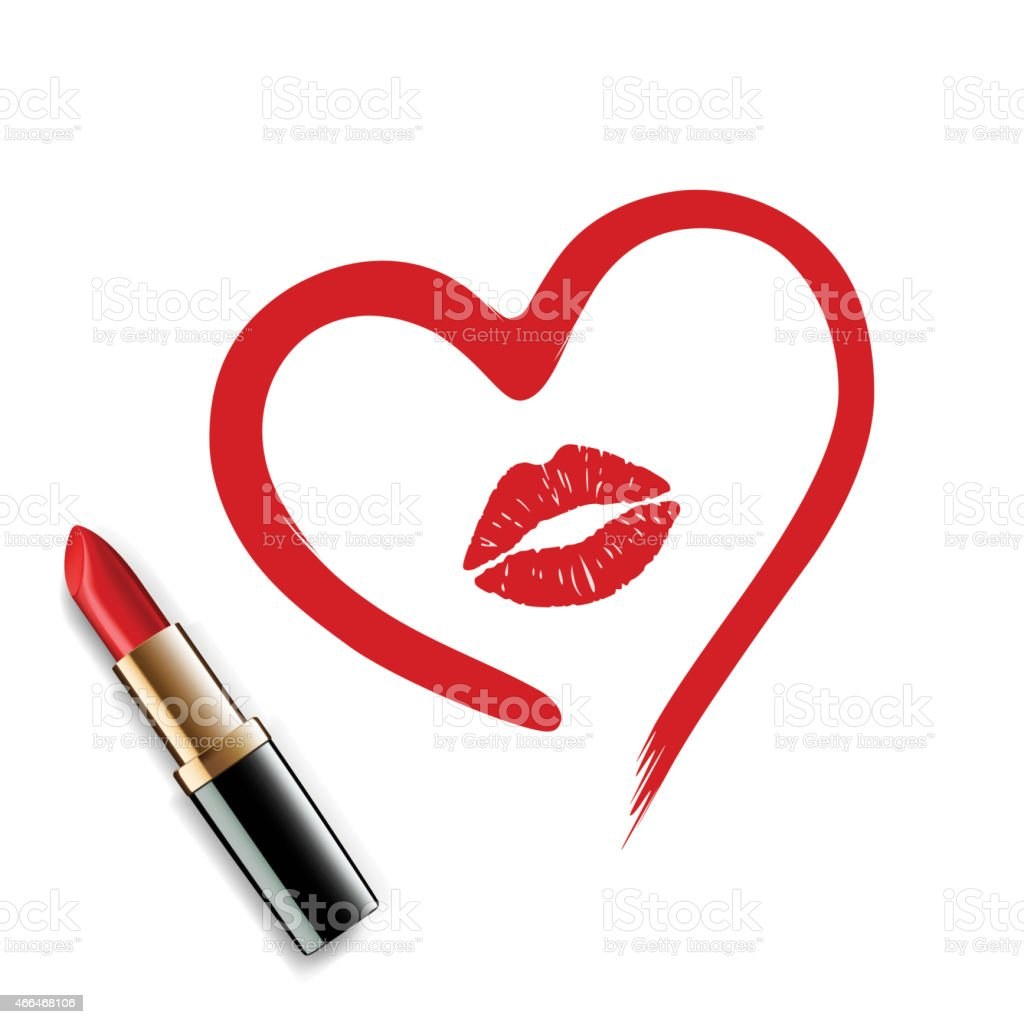 heart drawn in lipstick and lip imprint stock vector art