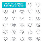 Heart Editable Stroke Icons