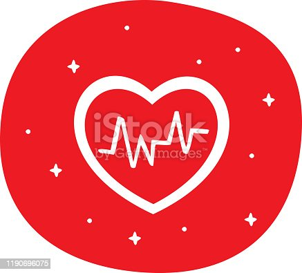 Vector illustration of a hand drawn heart with heartbeat wave against a red background.