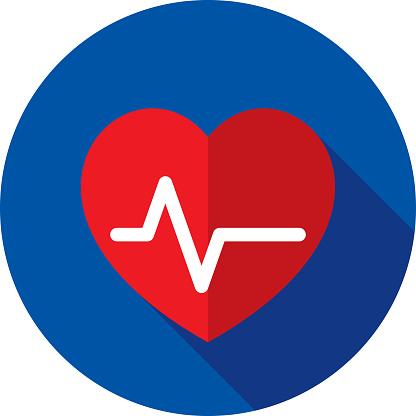 Heart EKG Icon Flat