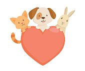 Heart emblem with cat,dog and rabbit characters. vector illustration