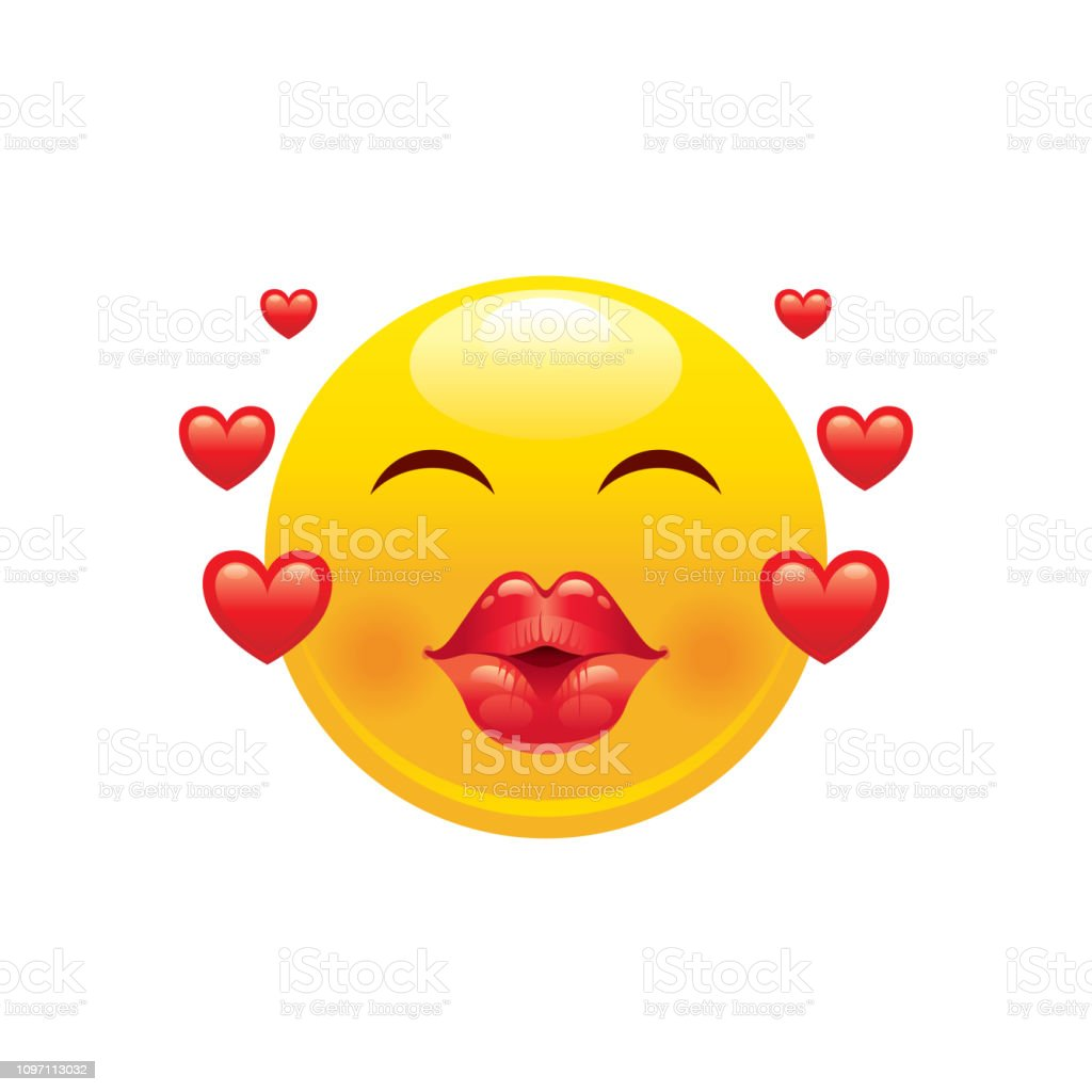 Ilustración De Icono Del Corazón Emoji Sonrisa De Cara 3d Para El