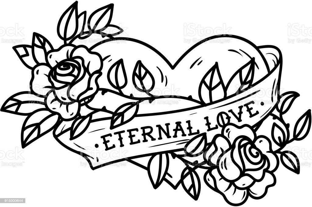 Hart Verstrengeld In Klimmen Van Rose Tattoo Hart Verstrengeld In