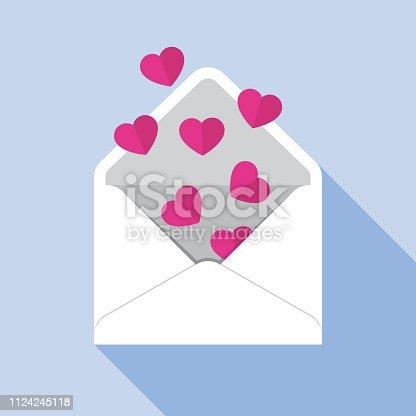istock Heart Envelope Open Icon Flat 1124245118
