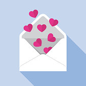 Vector illustration of hearts coming out of an envelope against a blue background in flat style.