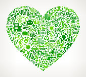 Heart On Green Environmental Conservation and Nature royalty free vector interface icon pattern. This royalty free vector art features nature and environment icon set pattern. The major color is green and icons include trees, leaves, energy, light bulb, preservation, solar power and sun. Icon download includes vector art and jpg file.