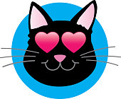 Vector illustration of a black cat with shiny heart eyes.