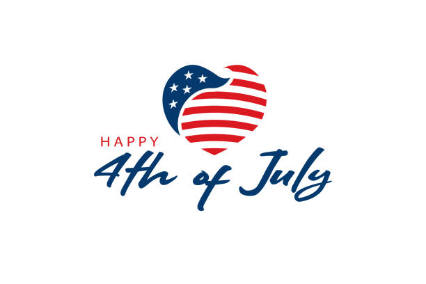 usa heart flag and 4th of july text. logo celebration - happy 4th of july stock illustrations