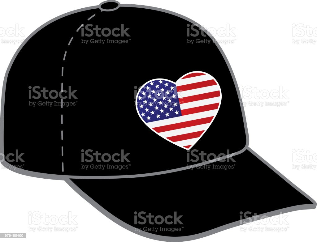 Ilustración de Gorra De Béisbol De Estados Unidos Corazón Bandera y ...