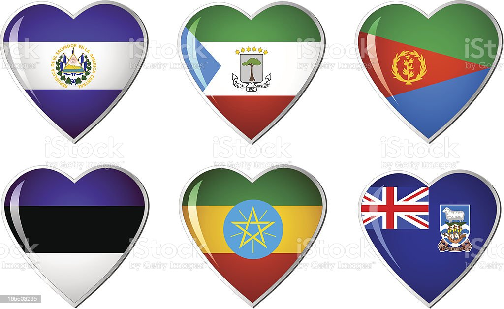 heart flag collection royalty-free stock vector art