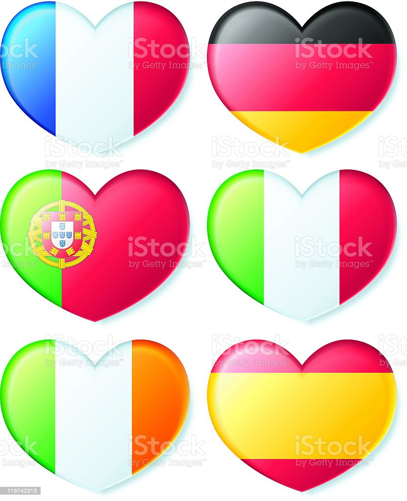 Heart Flags - Europe royalty-free heart flags europe stock vector art & more images of color image
