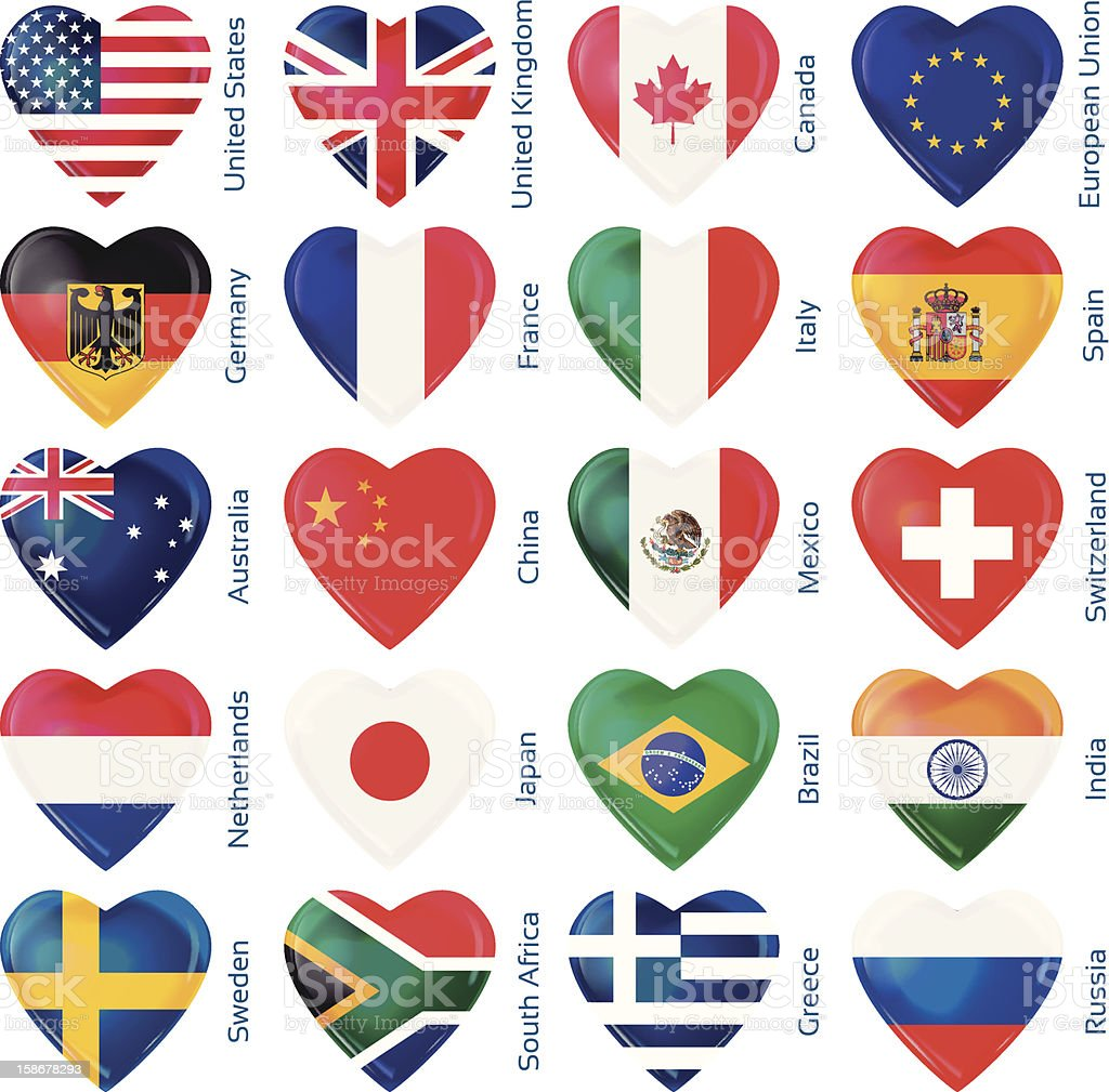 heart flags popular countries vector art illustration